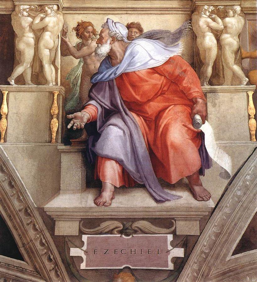 Michelangelo: il profeta Ezechiele sulla volta della Cappella Sistina.