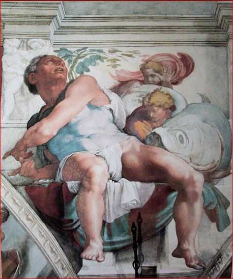 Michelangelo Buonarroti: il profeta Giona sul soffitto della Cappella Sistina