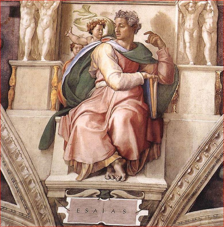 Michelangelo: Il profeta Isaia nella volta della Cappella Sistina.