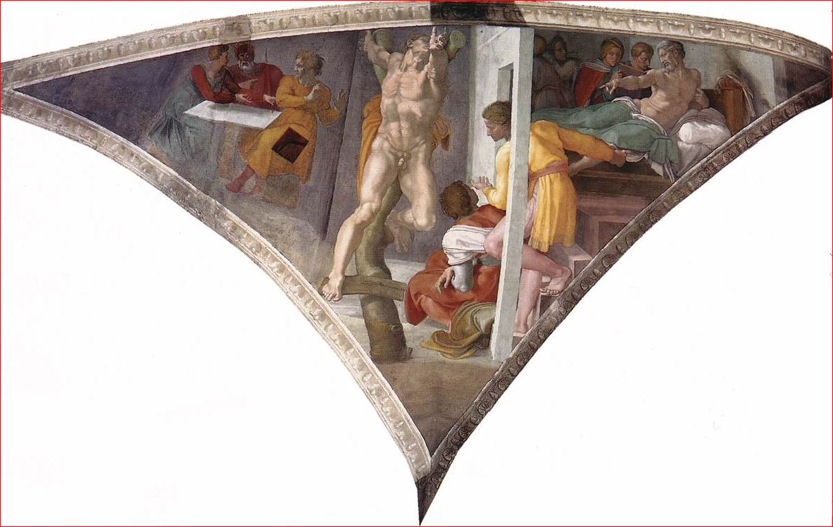 Michelangelo Buonarroti: La Punizione di Aman - soffitto della Cappella Sistina, anno 1511, dimensioni 585 x 985 cm. Città del Vaticano.