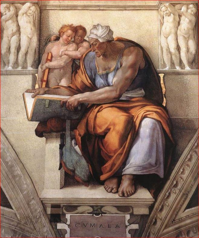 Michelangelo Buonarroti: Sibilla Cumana nella volta della Cappella sistina.