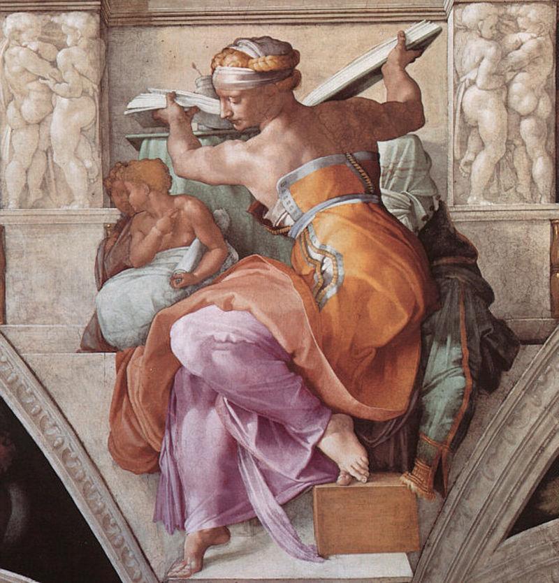 Michelangelo: La sibilla Libica nella volta della Cappella Sistina