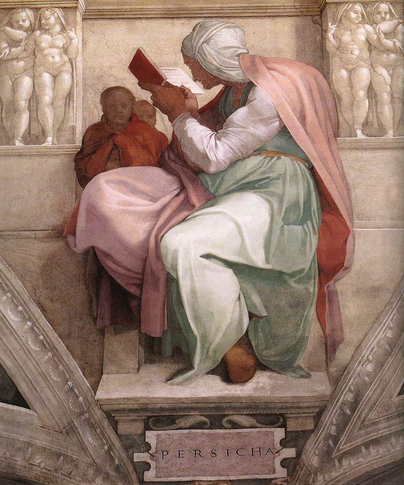 Michelangelo: la sibilla Persica nella volta della Cappella Sistina.