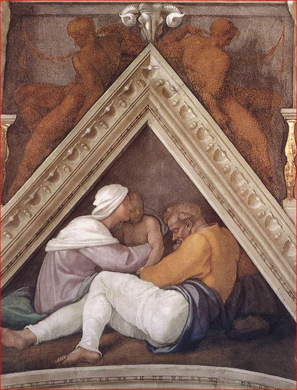 Michelangelo: La vela sopra Giosia, Ieconia e Salatiel