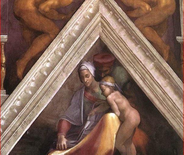 La vela a sinistra della Creazione degli astri con Salmòn, Booz e Obed.