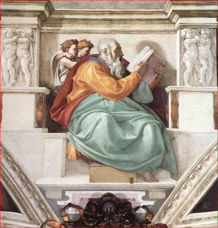 Michelangelo: Il profeta Zaccaria nella volta della Cappella Sistina