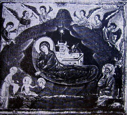 Natività: Particolare del paliotto con le storie di Cristo e di San Pietro