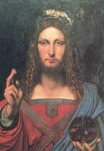 Scuola leonardesca: Salvator mundi di Boltraffio o Marco d'Oggiorno, o Francesco Melzi