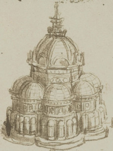 Disegno nel Rinascimento: Leonardo da Vinci, studio per una chiesa a pianta centrale con le varie cappelle per gemmazione, Institut de France di Parigi.