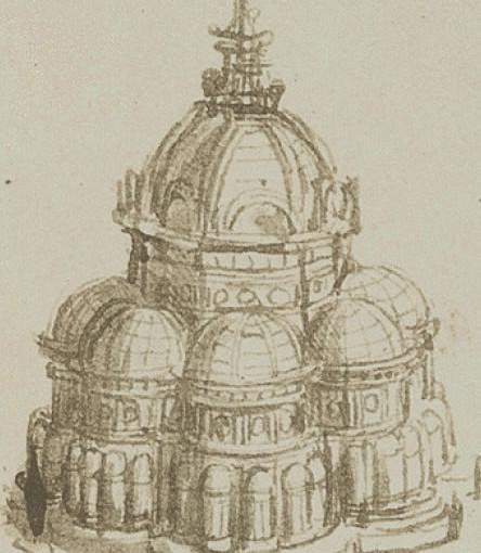 Leonardo da Vinci, schizzi per una chiesa a pianta centrale con cappelle per gemmazione, Parigi, Institut de France