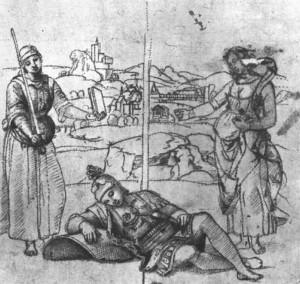 Disegno nel Rinascimento: Raffaello - studio preparatorio per il Sogno del cavaliere.