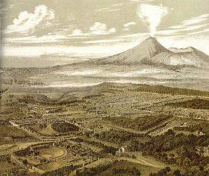 Pompei - Litografia del 1850 degli scavi