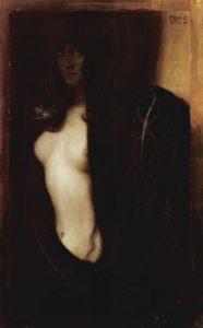 Franz von Stuck: Il peccato 1893, olio su tela, 95×60 cm, Neue Pinakothek, Monaco di Baviera