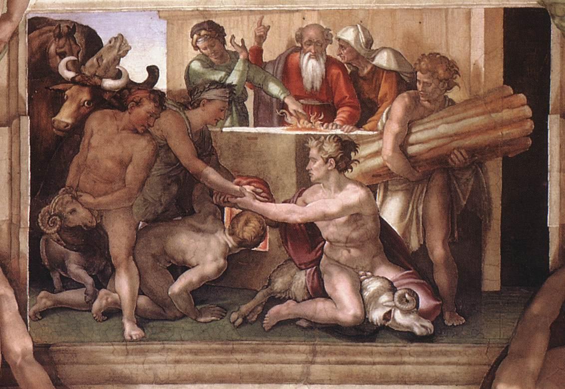 Michelangelo Buonarroti: Il Sacrificio di Noè nella volta della Cappella Sistina.