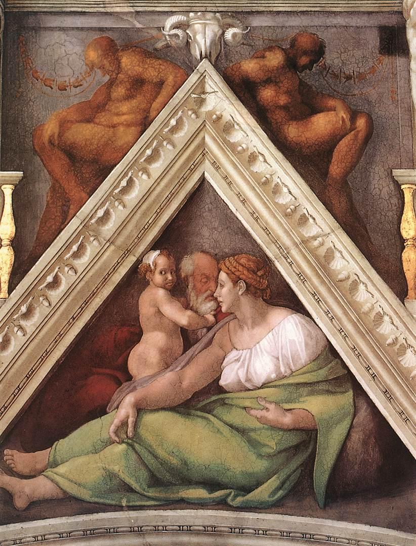 Michelangelo Buonarroti: Vela sopra Ezechia, Manasse e Amon, intorno al1510, Cappella Sistina, Città del Vaticano (Roma)