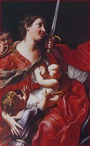 """Elisabetta Sirani: particolare della Carità del """"La Giustizia, la Carità e la Prudenza"""","""