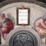 Michelangelo Buonarroti: Lunetta con Ezechia, Manasse e Amon, intorno al 1508-11, dimensioni 340 x 650 cm., Cappella Sistina