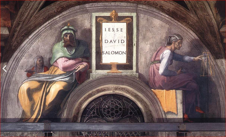 Michelangelo Buonarroti: Lunetta con Iesse, Davide e Salomone, 340 x 650 cm, 1511-12