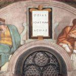 Michelangelo Buonarroti: Lunetta con Ozias, Ioatham e Achaz, intorno al 1508-11, dimensioni 340 x 650 cm., Cappella Sistina, Città del Vaticano.