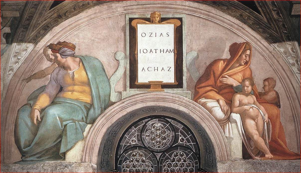 Michelangelo Buonarroti: Lunetta con Ozia, Ioatam e Acaz, intorno al 1508-11, dimensioni circa 340×650 cm, Cappella Sistina, Vaticano (Roma).