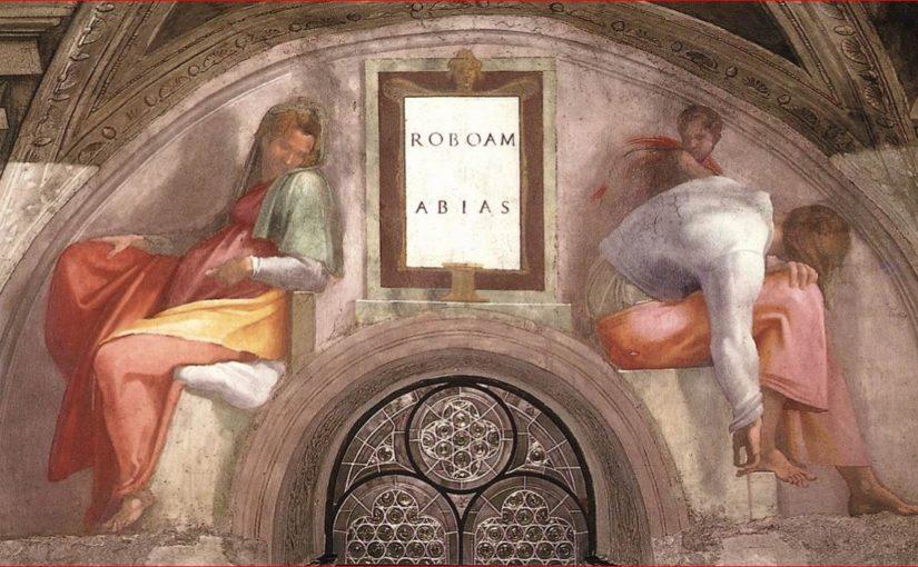Vela e lunetta con Roboamo e Abia nella volta della Cappella Sistina