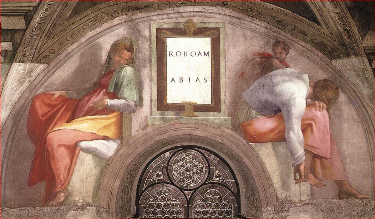 Michelangelo Buonarroti: Vela sopra Roboamo e Abia, 240 x 350 cm, realizzata intorno agli anni 1511-12