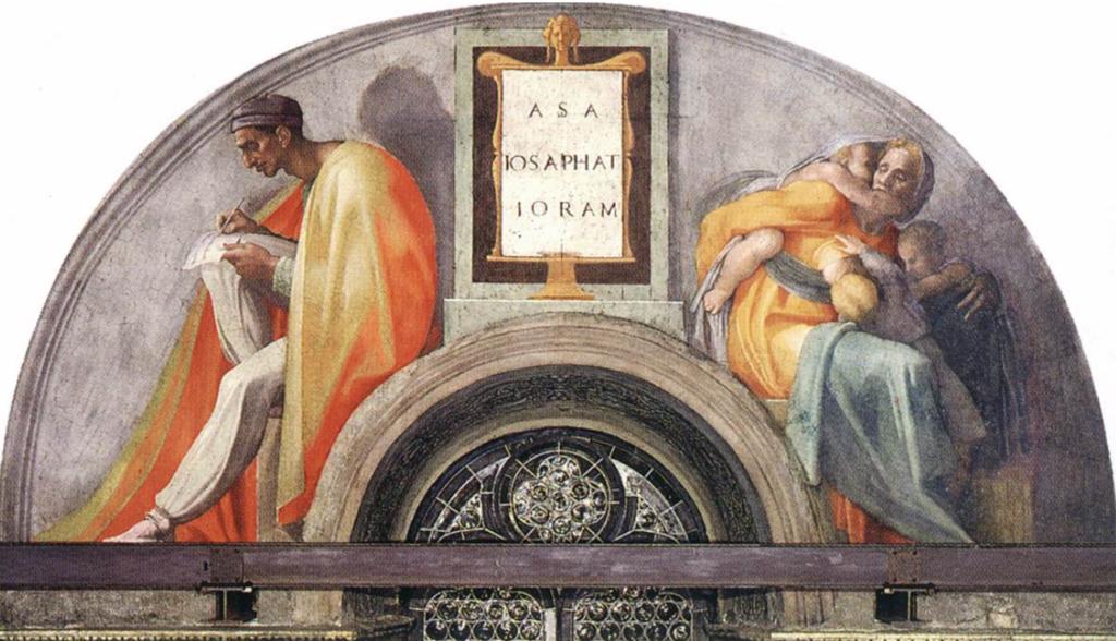 Michelangelo - lunetta con Asaf Iosafat e Ioram - 245 x 340 cm, intorno agli anni 1511-12, volta della Cappella Sistina in Vaticano.