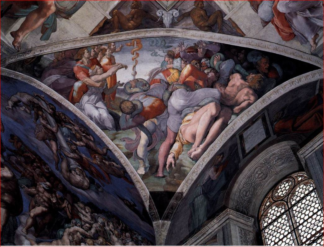 Michelangelo: Il Serpente di bronzo in uno dei quattro pennacchi della volta della Cappella Sistina.