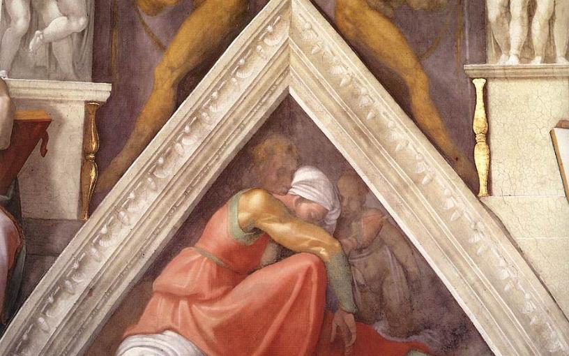 Vela e lunetta con Asaf, Giosafat e Ioram nella volta della Cappella Sistina