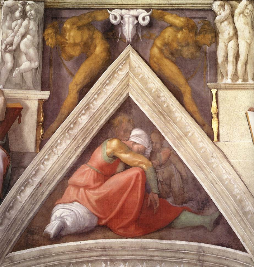 Michelangelo - vela sopra Asaf Iosafat e Ioram - Cappella Sistina