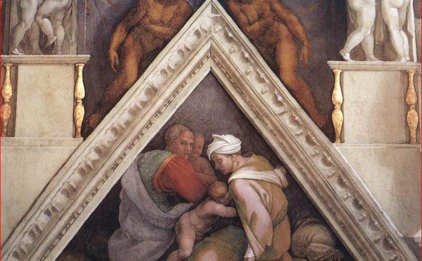 Vela e lunetta con Ozia, Ioatam e Acaz – volta della Cappella Sistina