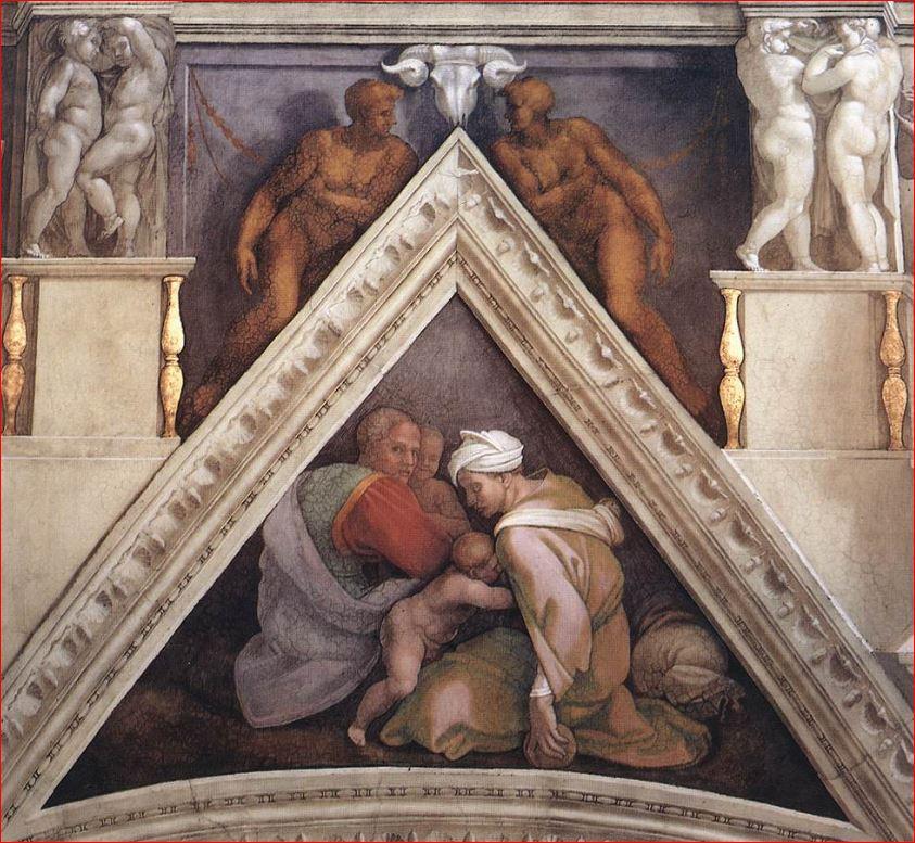 Michelangelo Buonarroti: vela sopra Ozia, Ioatam e Acaz, intorno al 1510, affresco sulla volta della Cappella Sistina