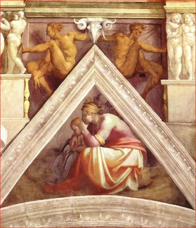 Michelangelo Buonarroti: vela sopra Roboamo e Abia, volta della Cappella Sistina