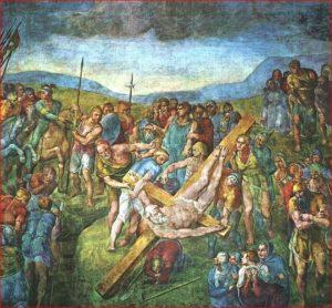 Michelangelo: Crocifissione di San Pietro, intorno agli anni 1545–1550, affresco parietale, dimensioni 625 x 662 cm., Cappella Paolina, Città del Vaticano, Roma.