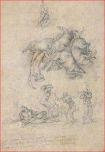 Michelangelo: Caduta di Fetonte, intorno al 1533, disegno su carta, dimensioni 31,2 x 21,5 cm., British Museum, Londra