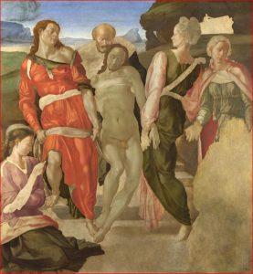 Michelangelo: Deposizione di Cristo nel sepolcro, intorno agli anni 1500-1501, tecnica a tempera su tavola, dimensioni 159 x 149 cm., National Gallery, Londra