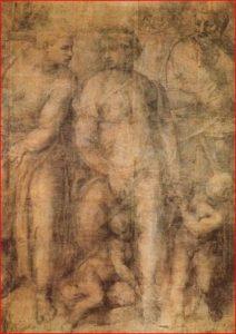 Epifania, intorno agli anni 1550-1553, tecnica a carboncino su carta, dimensioni 232 x 165 cm., British Museum, Londra.