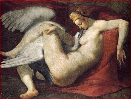Michelangelo: Copia di Rosso Fiorentino di Leda e il cigno, anno 1530, tecnica a tempera