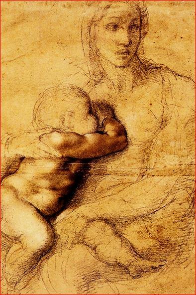 Madonna col Bambino, intorno al 1525, tecnica a matita nera e rossa, biacca e inchiostro su carta, dimensioni 54,1 x 39,6 cm., Casa Buonarroti, Firenze.