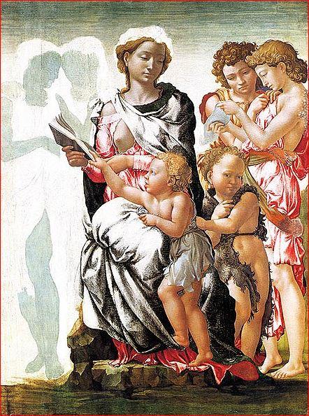 Michelangelo: Madonna di Manchester, intorno agli anni 1496-97, tecnica a tempera su tavola, 102 x 76 cm., National Gallery, Londra