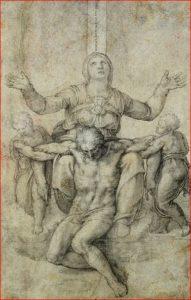 Buonarroti: Pietà per Vittoria Colonna, intorno al 1546, tecnica a carboncino su carta, dimensioni 28,9 x 18,9 cm., Isabella Stewart Gardner Museum, Boston.