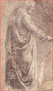 Michelangelo: San Pietro, intorno agli anni 1488-90, tecnica a penna e sanguigna si carta