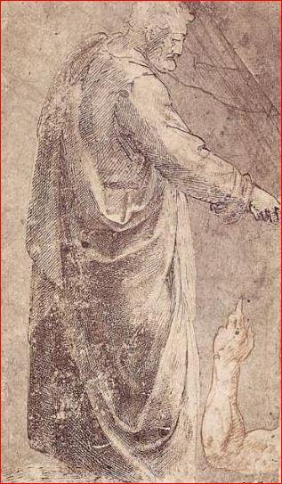 Michelangelo Buonarroti: San Pietro, tecnica a penna e sanguigna su carta, anno 1488-90, dimensioni 31,7 × 19,7 cm., Staatliche Graphische Sammlung, Monaco di Baviera.