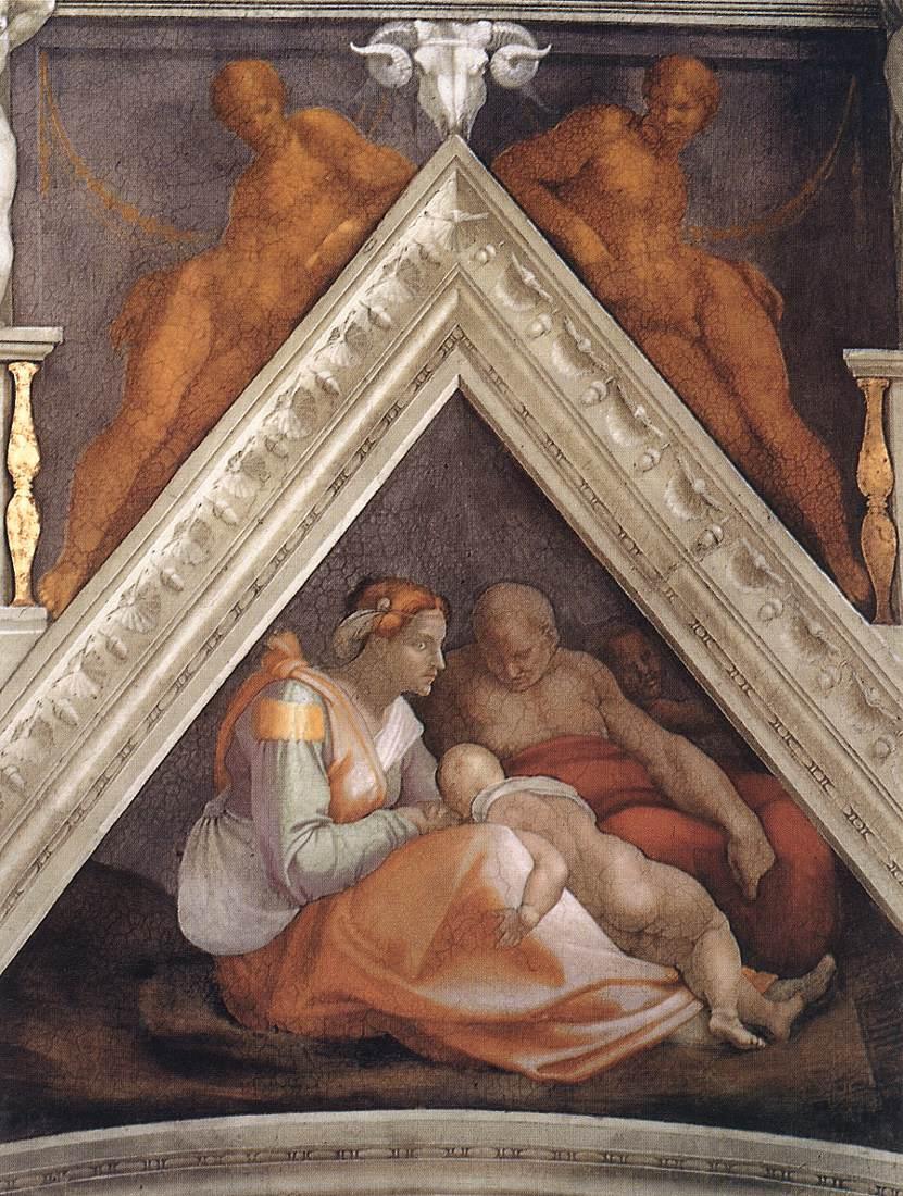 Michelangelo Buonarroti: Vela sopra Zorobabele, Abiud e Eliacim, intorno al 1510,