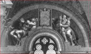 Lunetta Fares, Esrom e Aram sulla parete dell'altare (raschiata)