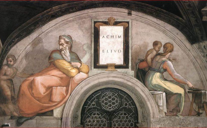 La lunetta con Achim e Eliud nella Cappella Sistina