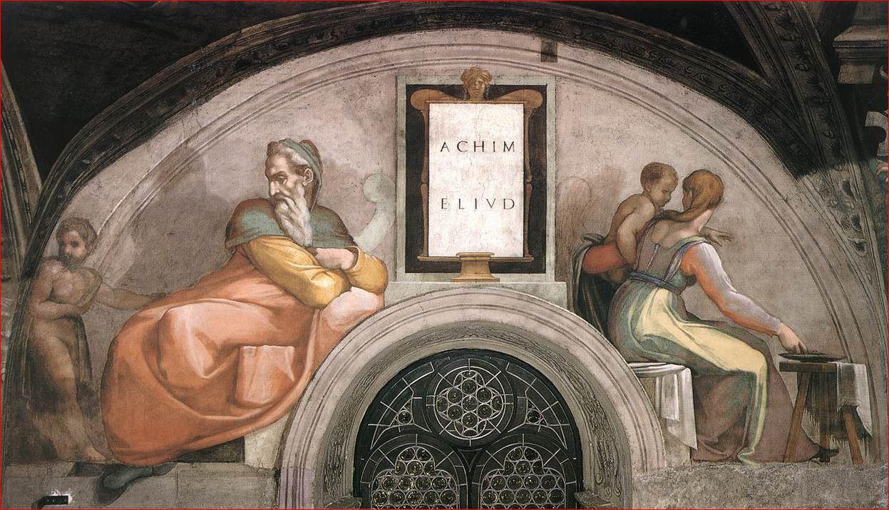 Michelangelo Buonarroti: Lunetta con Achim e Eliud, intorno al 1508-1512, dimensioni 340 x 650 cm., Cappella Sistina, Città del Vaticano.