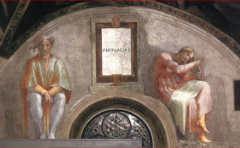 La lunetta con Aminadab nella volta della Cappella Sistina
