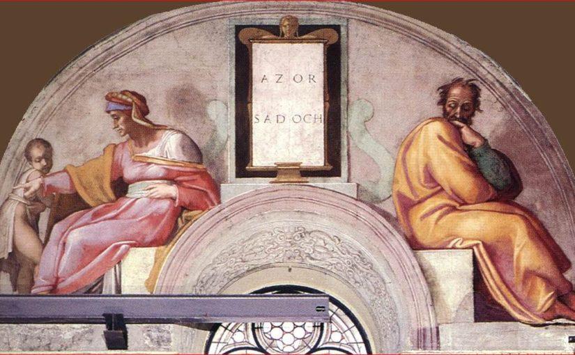 La lunetta con Azor e Sadoc nella Cappella Sistina