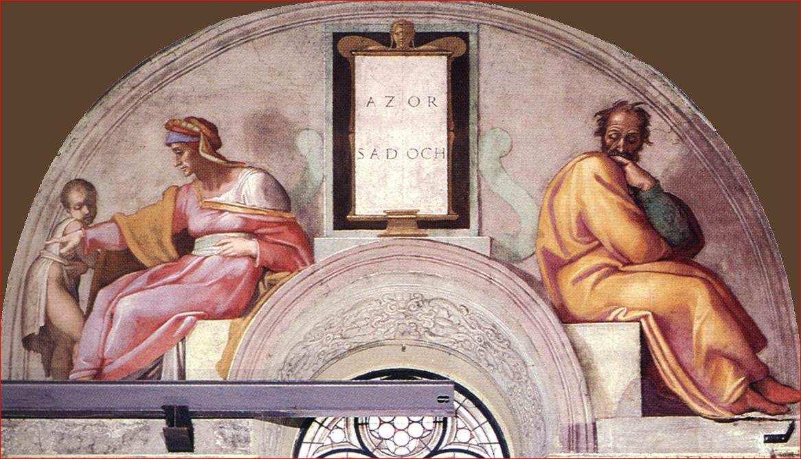 Michelangelo Buonarroti: Lunetta con Azor e Sadoc, intorno al 1508- 1511, dimensioni 340 x 650 cm., Cappella Sistina